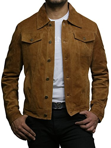 Denim Casuale Trucker Brandslock Jeans Giacca Abbronzatura Scamosciata Style Capra Camicia Tan In Pelle Uomo Di Motociclista nUwU7q0p