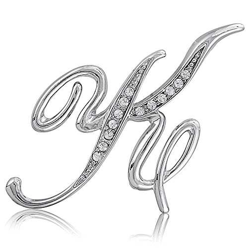 BERRICLE Rhodium Plated Base Metal Initial Letter 'K' Fashion Brooch Pin