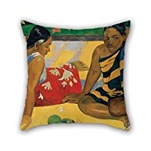 Throw Pillow Covers 18 X 18 Inches/45 By 45 Cm(double Sides) Nice Choice For Couch Indoor Wife Bar Seat Adults Coffee House Oil Painting Paul Gauguin - Parau Api. What News