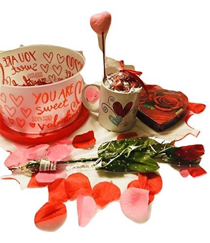 Valentine's Day Coffee Mug Basket- Coffee Mug with chocolates, Red Light up rose,Heart Box Chocolates, Basket with cover heart themed, Wrap , Rose Petals, Heart Picks