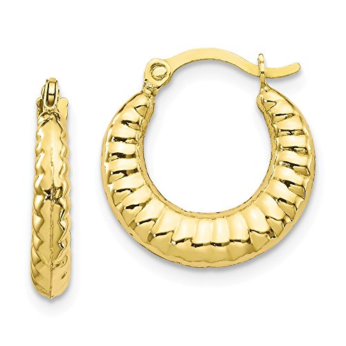 10k Yellow Gold Scalloped Hoop Earrings Ear Hoops Set Fine Jewelry Gifts For Women For Her