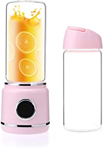 Double Cup - Portable Blender, LED USB Rechargeable Juicer Cup, Can Be Used As A Power Bank, Min Blender for Smoothies And Shakes, Juicer Cup 420ML,Pink