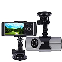"RDT 2.7"" LCD Dual Lens Video Dash Cam Car Camera Recorder Front and Rear Car/Vehicle DVR Monitor Camcorder with GPS Module, Wide Angle, G-sensor Max to 32GB TF Card Excluded"