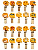 QTMY 20 Pcs Emoji Smiling Face Wooden Clip Hanging Photos with Twine Decoration Supplies Favors