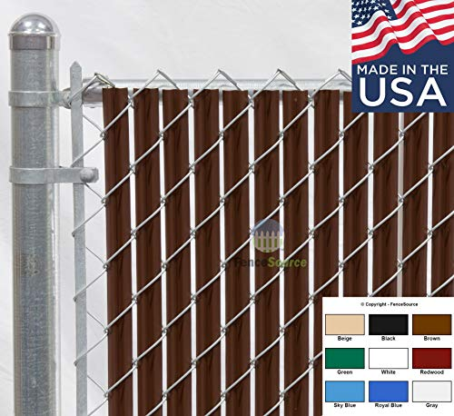 Fence Source Wave SlatTM (9 Colors) Single Wall Bottom Locking Privacy Slat for 4', 5', 6', 7' and 8' Chain Link Fence (6 ft, Brown)