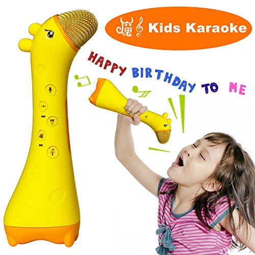NeWisdom Magic Kids microphone, Best 2017 Wireless bluetooth karaoke Toy for Children 0 - 12 year old to develop intelligence, cool birthday gifts presents– Yellow deerlet (The Date Of Halloween 2017)