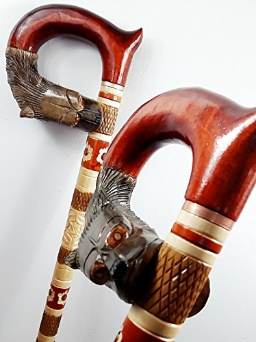 WOLF HEAD Cane Walking Stick Wooden Handmade Men's Accessories