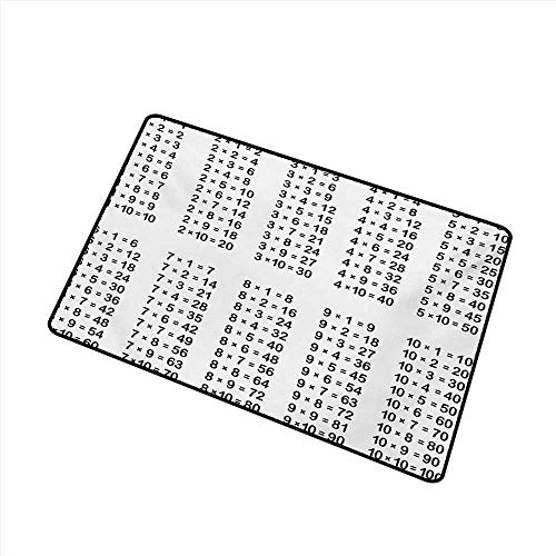 duommhome Interesting Doormat Educational Multiplication Table on White Background Mathematics Algebra School Student W16 xL20 with Anti-Slip Support