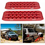 ECOTRIC Recovery Boards Traction Tracks Matfor Sand Mud Snow Off Road Tire Ladder Black 4WD W/Storage Bag (Red)