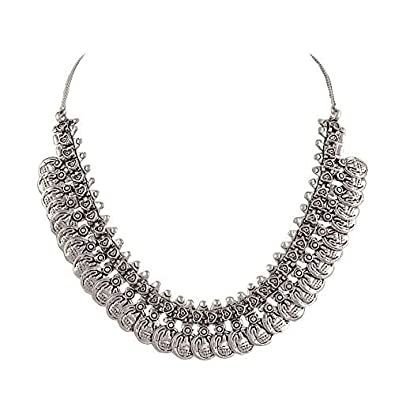 Buy sansar india oxidized silver plated coins choker necklace for sansar india oxidized silver plated coins choker necklace for women aloadofball Images