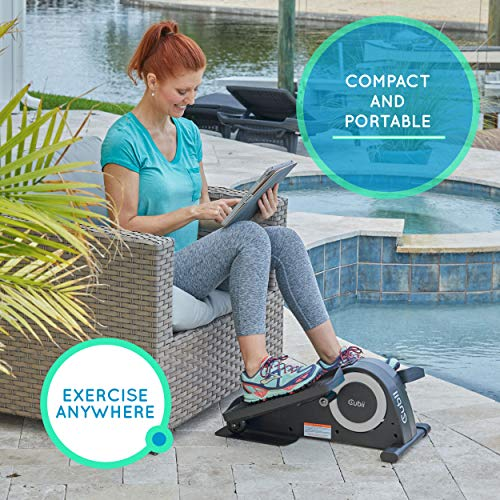 Cubii Jr: Desk Elliptical w/Built in Display Monitor, Easy Assembly, Quiet & Compact, Adjustable Resistance (Silver)