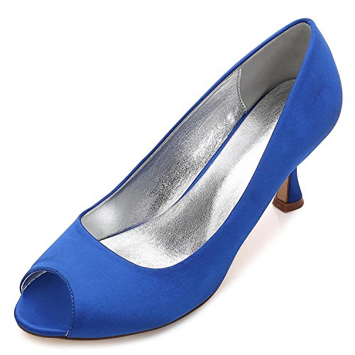 Toe Da 10 Ladies Party Scarpe Low L Misura Size Peep Court Donna Satin Sposa su yc Blue E17061 Heel Ffgzw