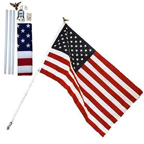 Independence Residential US Flag Set 3' X 5' American USA Printed Banner Kit 6' Pole - Banner Flag Eagle