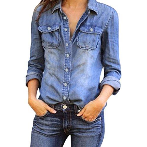Donna Manica Cuffed Camicie Casual Da V A Eleganti Camicia Denim Lunga Top Blu collo Pulsante Righe Camicetta qfUBx5wwtI