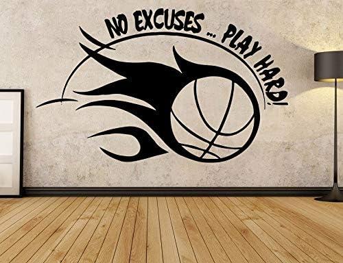 yiyiyaya Calcomanía Deportiva de Baloncesto Calcomanías de motivación No Hay Excusas Jugar Hard Wall Vinyl Sticker Sticker para Tranning Club Dorm 68X42CM: Amazon.es: Hogar