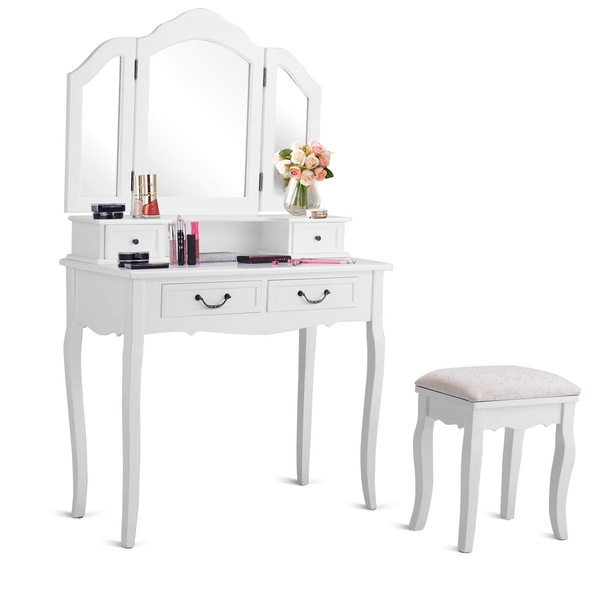 CHARMAID Vanity Set with Tri-Folding Mirror and 4 Drawers, Makeup Dressing Table with Cushioned Stool, Makeup Vanity Set for Women Girls Bedroom, Makeup Table and Stool Set (White) by CHARMAID