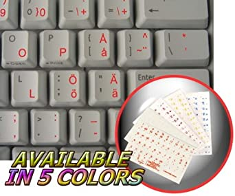 SWEDISH - FINNISH KEYBOARD STICKERS WITH RED LETTERING ON TRANSPARENT BACKGROUND
