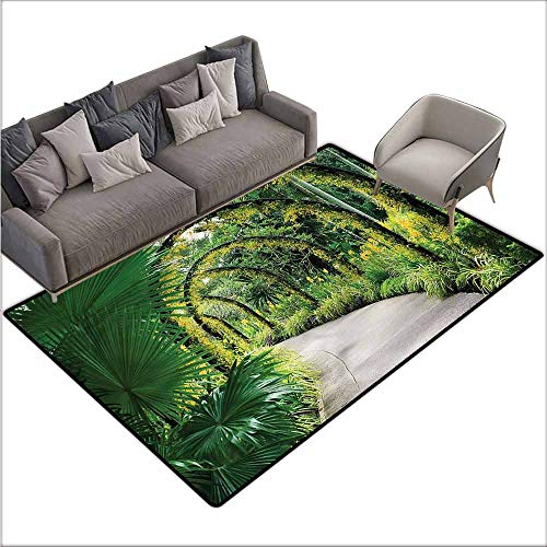 "Large Floor Mats for Living Room Colorful Garden,Scenic Arcs with Orchids 60""x 96"",Kitchen Rugs Non Skid"