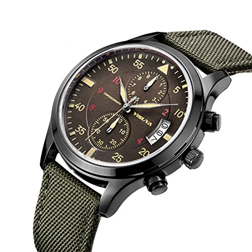 YISUYA Men's Sport Military Chronograph Waterproof Japeness Movement Canvas Band Wrist Watch Army Green