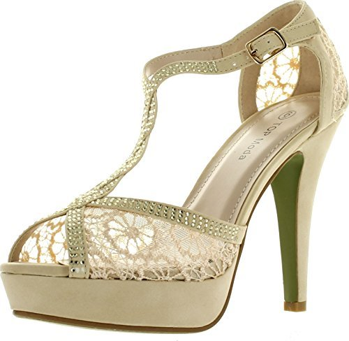Top Moda Womens Hy5 Formal Evening Party Lace Ankle T-Strap Peep Toe Stiletto High Heel Pumps,White,8.5