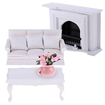 1//12 Dollhouse Miniature Furniture Living Room Long Chair Roses Cushions Set