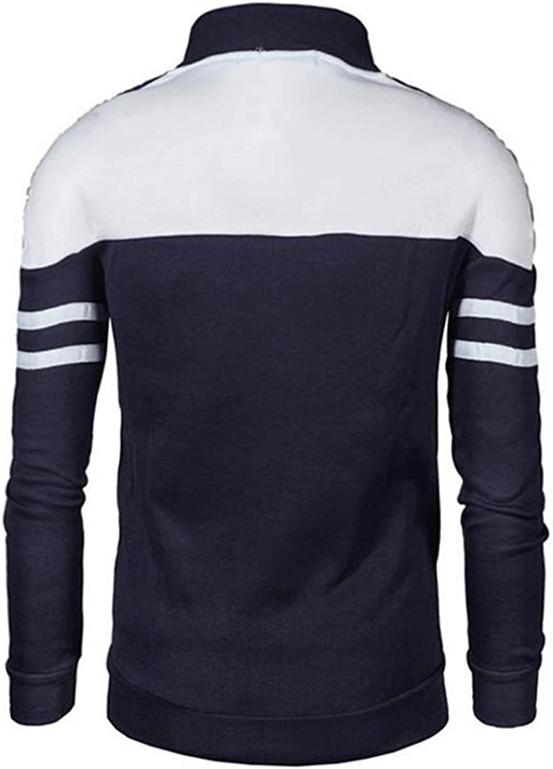 Hajotrawa Mens Baseball Zipper Casual Jacket Color Block Stand Collar Sweatshirt