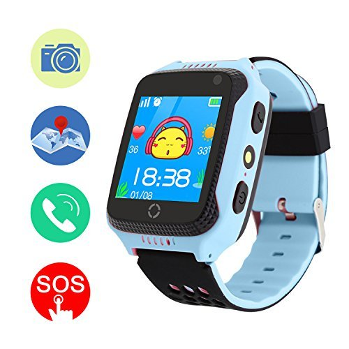 GPS Tracker Smart Watch, Mictchz Kids GPS Tracker Smart Watch with Camera SIM Calls SOS Anti-Lost GPS + LBS Smart Watch for Children Boys Girls for Android iPhone Smartphone (Blue)