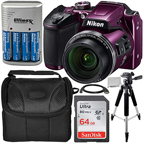 Nikon COOLPIX B500 Digital Camera (Plum) Starter Bundle Includes, 57