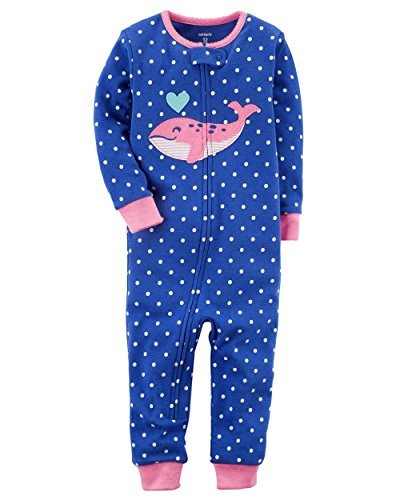 1-Piece Snug Fit Cotton Footless Pajamas (Whale, 12 Months) (Footless One Piece)