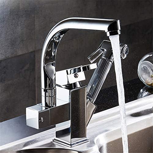 ポリッシュクロームプルアウトブラスダブルスパウト360度&キッチン蛇口キッチンタップシンクミキサーを引き出します