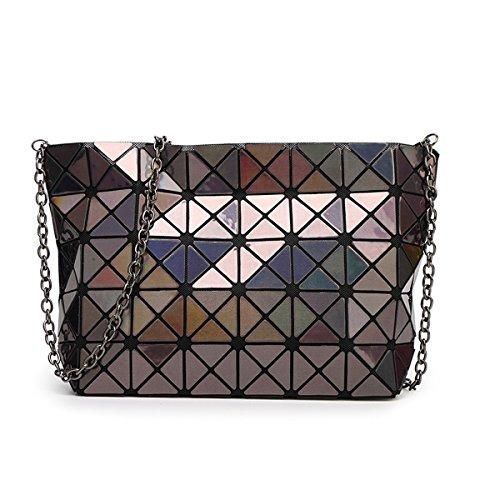 à sacs en les l'épaule Hologram des géométrique chaîne partager main flada pour à réseau diamant de mesdames Brown cuir jaune croix commun sacs sacs écossais fwEqxqXH5