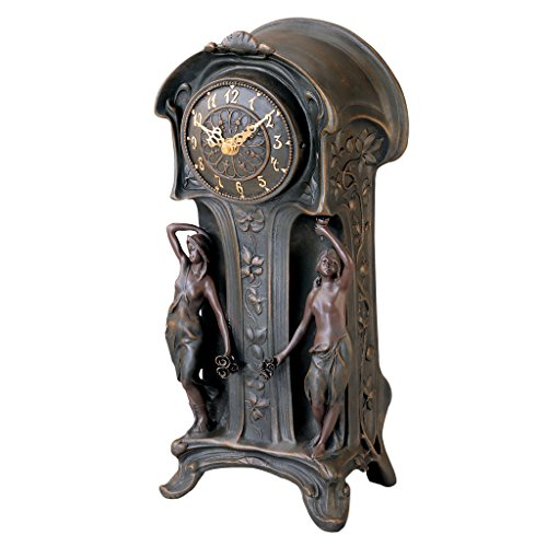 Design Toscano Dual Maiden Art Nouveau Mantelpiece Clock, Verdigris