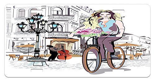 - Ambesonne Paris License Plate, Young Girl with Bike and Roses in a Street Old Town Musician Romantic Tour in City, High Gloss Aluminum Novelty Plate, 5.88 L X 11.88 W Inches, Multicolor