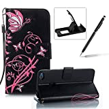 Strap Leather Case for Huawei P8 Lite 2017,Portable Wallet Case for Huawei P8 Lite 2017,Herzzer Bookstyle Retro Brilliant Butterfly Flower Pattern Stand Magnetic Smart Leather Case with Soft Inner for Huawei P8 Lite 2017 + 1 x Free Black Cellphone Kickstand + 1 x Free Black Stylus Pen - Black