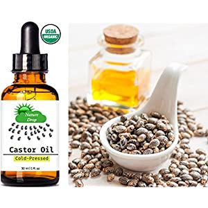 Nature Drop's Organic Castor Oil ,1 oz - 100% USDA Certified Pure Cold Pressed Hexane free - Best oil Growth For Eyelashes, Hair, Eyebrows, Face and Skin, Triple Filtered, Great for Acne