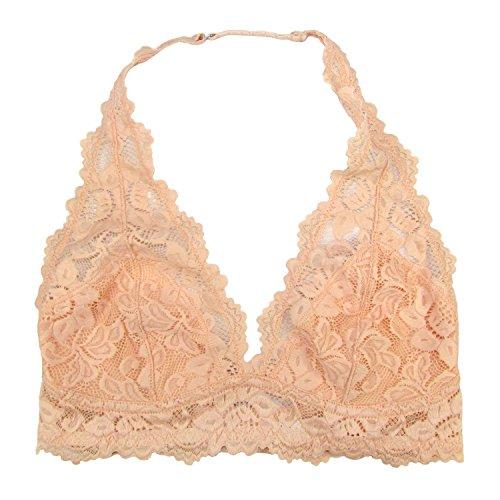 Undie Couture Halter Lace Bralette (Peach, Medium)