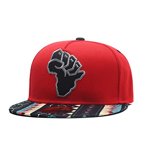 Quanhaigou Power Mens Snapback Hats, Map of Africa Embroidery Baseball Cap Palm Tree Red Dad Hats -