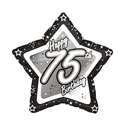 Amazon Age 75 Happy 75th Birthday Silver Black 21 Foil