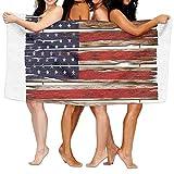 Haixia Microfiber Bath Towel Beach/Bath/Pool Towel 51.2'' X 31.5'' Primitive Country Decor United States Flag Painted Wooden Planks 4th of July Illustration Decorative
