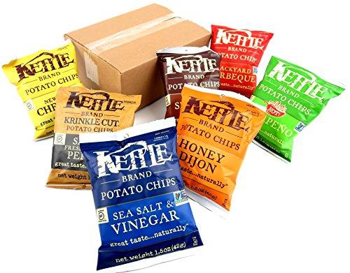 Kettle Chips Potato Chips 7-Flavor Variety: One 1.5 oz Bag Each of Sea Salt, New York Cheddar, Sea Salt & Vinegar, Honey Dijon, Salt & Pepper, Backyard BBQ, and Jalapeño (7 Items Total) ()