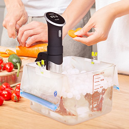 Large Product Image of Sous Vide Bags Kit for Anova Cookers - 20 Reusable Food Vacuum Sealed Bags, 1 Hand Pump, 2 Bag Sealing Clips and 4 Sous Vide Clips,Easy to Use, Practical for Long-time Sous Vide Cooking & Food Storage