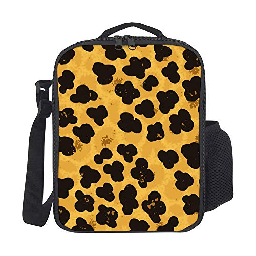 SARA NELL Fashion Leopard Ocelot Or Wild Cat Fur Lunch Bag,Insulated Lunch Box with Stylish Pattern for Women & Girls,Insulated Cooler Bag,Reusable Lunch Tote Bag with Adjustable Shoulder -