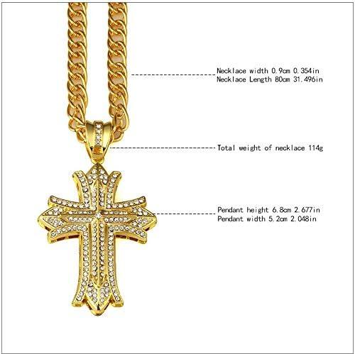 Vonchic Collier bling-bling dor/é /à maillons cubains avec crucifix iced out