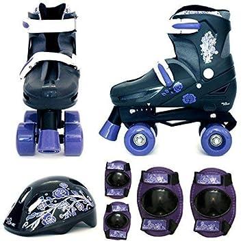 b2c1454c5fe Sk8 Zone Girls Purple Black Quad Skates Padded Kids Roller Boots Safety  Pads Helmet Childrens Skate