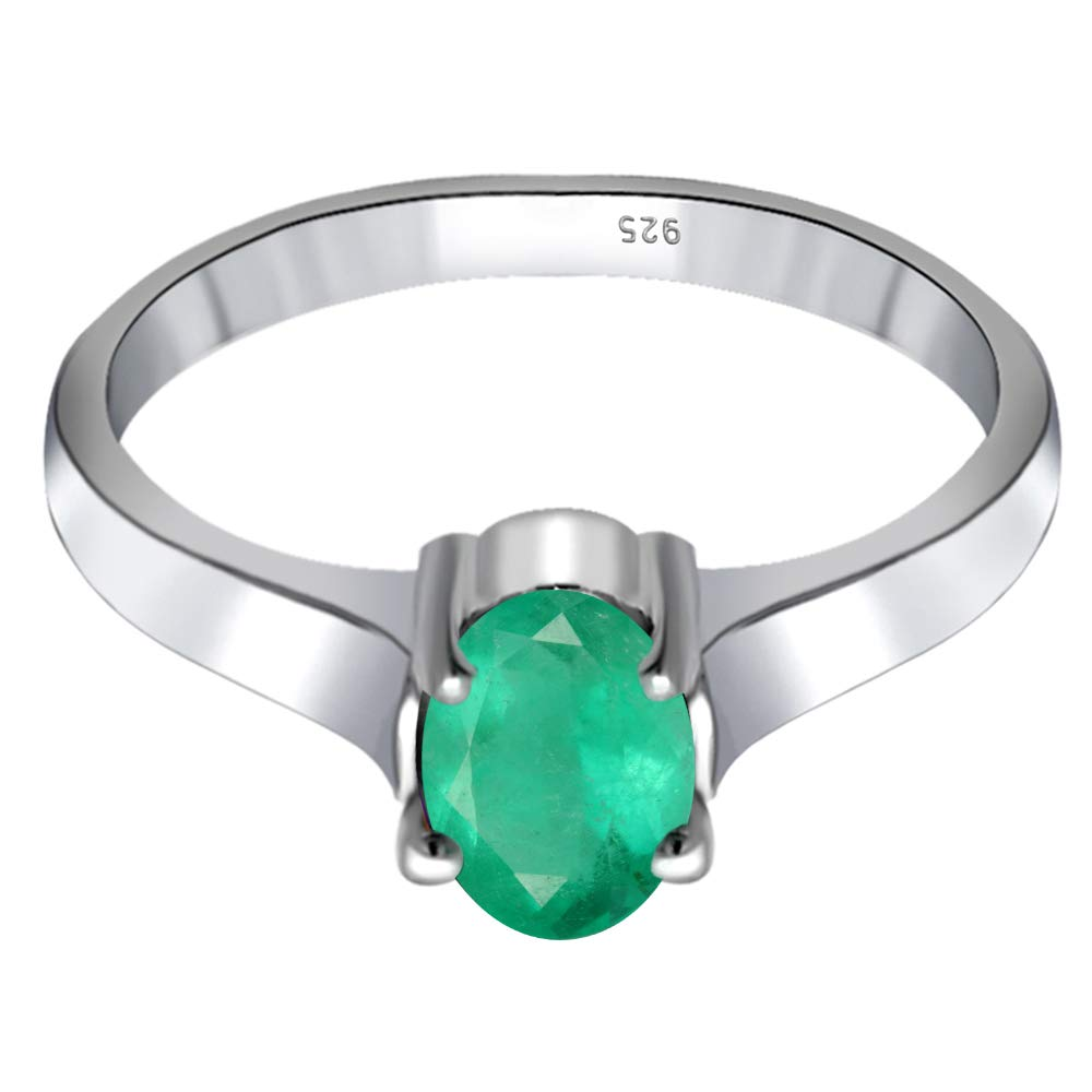Nickel Free Cute And Simple Mother And Wife Birthday Gift 0.70 Ct Green Oval Cut Emerald 925 Sterling Silver Wedding Ring For Women Birthstone Month-May By Orchid Jewelry