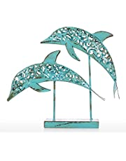 Anself Two Blue Dolphins Iron Handmade Statue Design Statue Ornament Marine Life Retro Effect