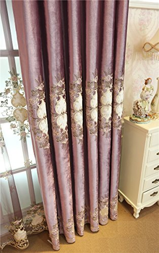 TIYANA Luxury Purple Velvet Fabric Curtains for Living Room Rope Embroidery  Romantic Elegant Luxurious Royal Style Window Covering Panels for Bedroom,