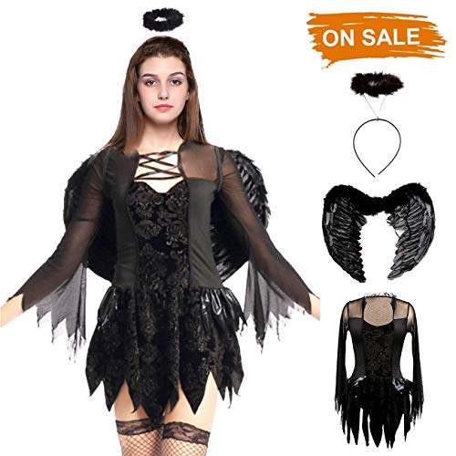 Halloween Costumes Fallen Angel Dress Vampire Devil Cosplay Party Costume Feather Angel Wings Halo Headpiece, -