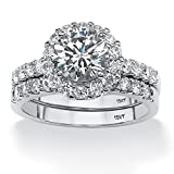 Round White Cubic Zirconia 10k White Gold 2-Piece Halo Bridal Ring Set