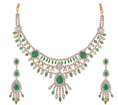 Swasti Jewels Gold Plated CZ Zircon Fashion Jewelry Set Necklace Earrings for Women ( Green ) by Swasti Jewels